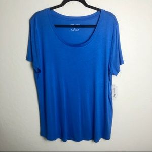 Maison Jules Blue Scoop Neck Tee XL NWT